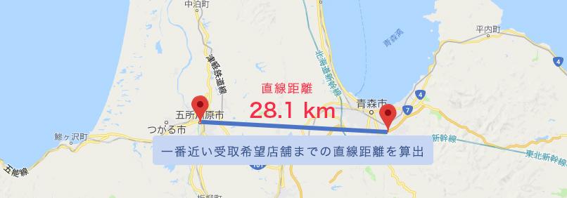 一番近い受取希望店舗までの直線距離を算出
